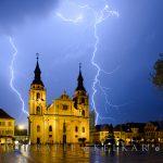 Gewitter über dem Marktplatz Ludwigsburg
